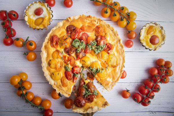 Image ofBurst Tomato Tart with Herbed Crust and Salsa Verde