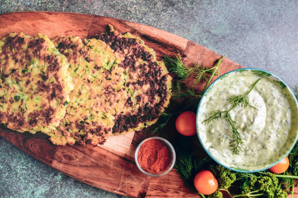 Image ofZucchini Fritters with Herbed Yogurt Dip