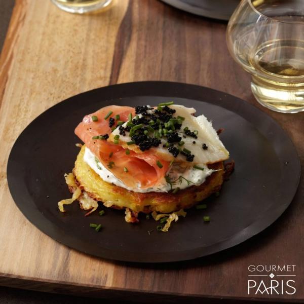 Image ofCrispy Potato Galette with Caviar and Smoked Salmon