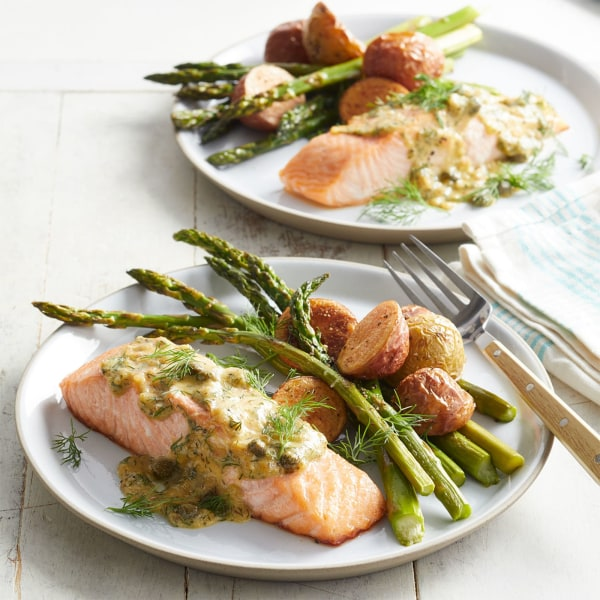 Image ofRoasted Salmon & Asparagus with Dill-Mustard Sauce