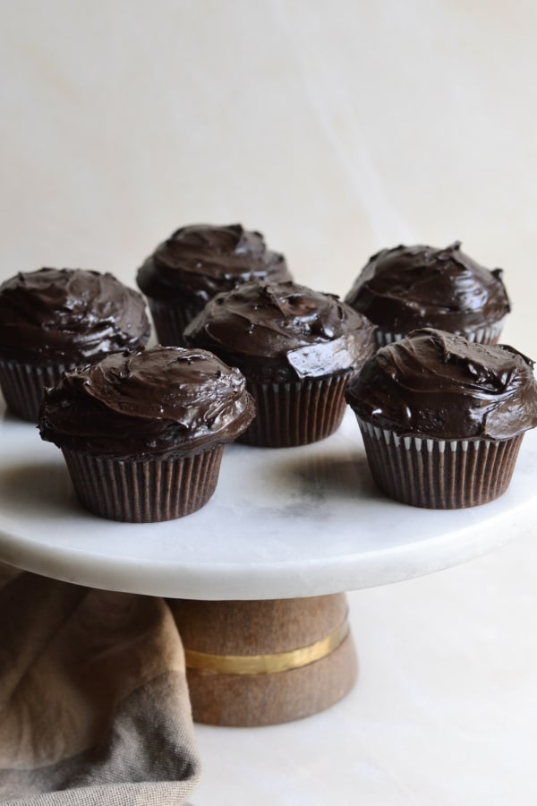 Image ofChocolate Cupcakes With Dark Chocolate Ganache