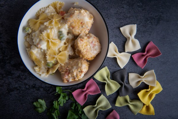 Image of Creamy Farfalle with chicken Meatballs