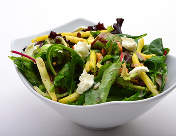 Image of Garden Lettuces & Arugula with Summer Beans, Goat Cheese, & Hazelnuts