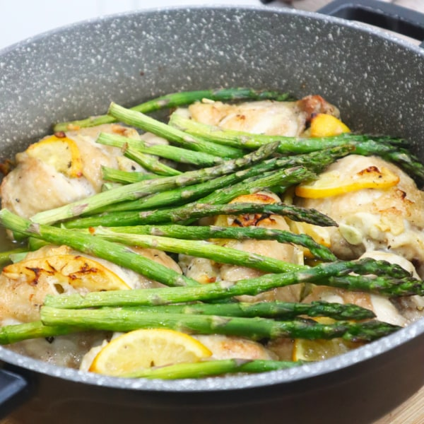 Image ofRoast Chicken Thighs with Lemon & Asparagus