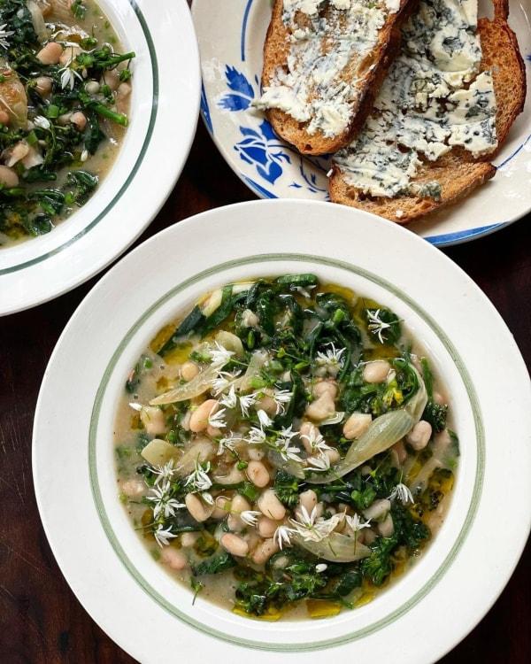 Image ofWhite Bean Broth with Greens + Wild Garlic