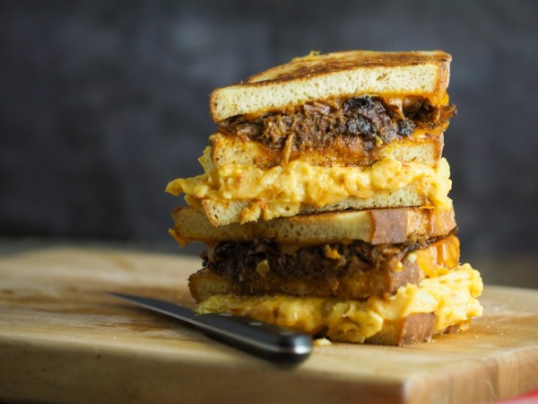 Image of Mac 'N Cheese Pulled Pork Grilled Cheese