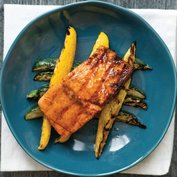 Image ofGRILLED SALMON AND SQUASH WITH BROWN SUGAR BOURBON GLAZE