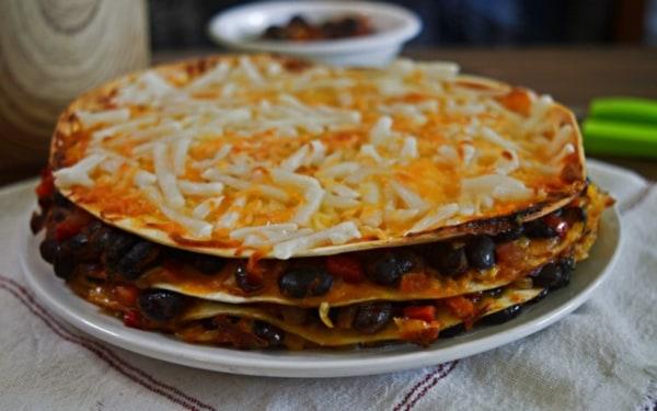 Image ofBlack Bean Tortilla Pie Recipe