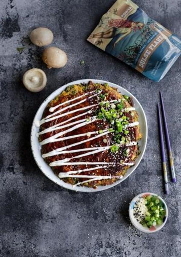 Image ofVegan okonomiyaki (japanese savoury pancake)