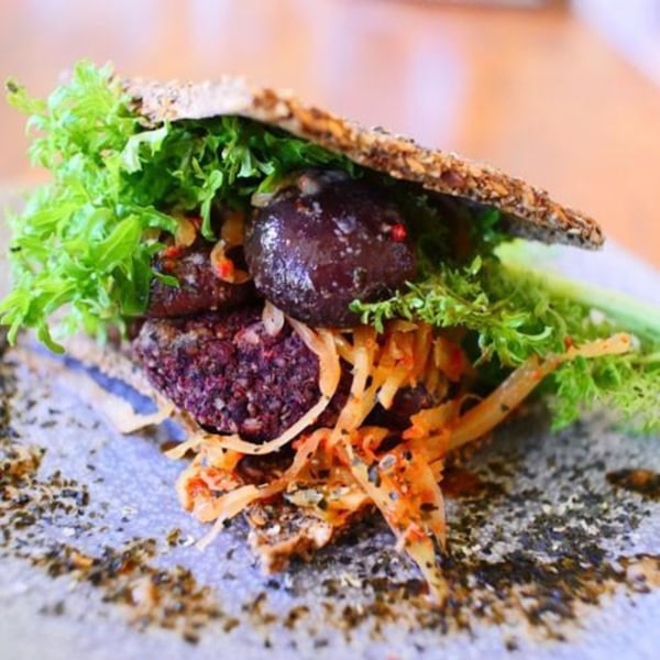 Image ofWakame Bread, Vegetable Pulp Burger & Marinated Shitake