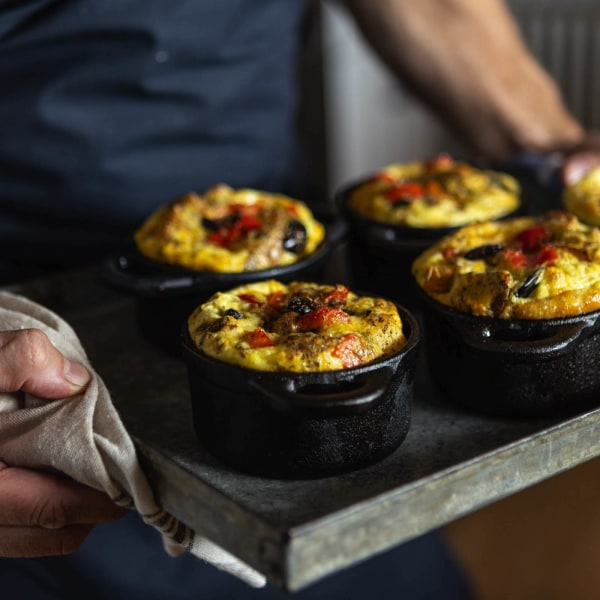 Image of Mini Potato, Olive, and Bell Pepper Frittatas