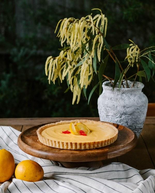 Image of Lemon and Native Finger Lime Macadamia Tart