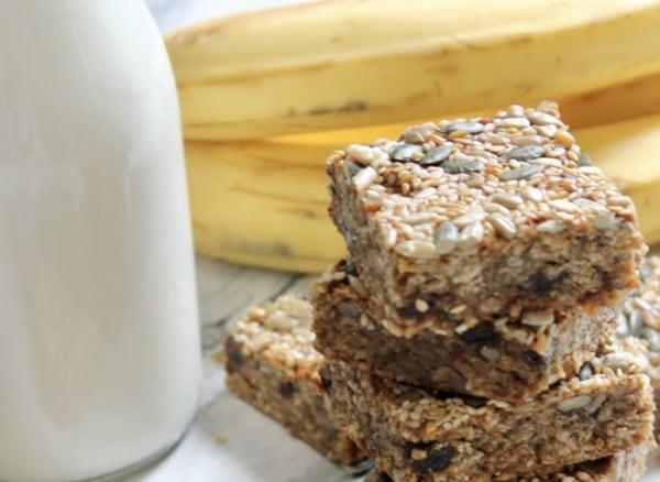 Image ofGluten & Dairy Free Banana and Tahini Muesli Bars by Lisa Roukin