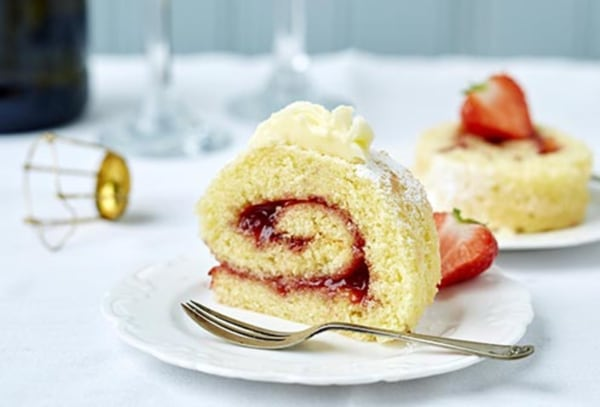 Image ofGluten Free Strawberry Swiss Roll with Prosecco Buttercream