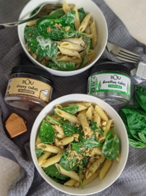 Image ofSpinach and Mushroom Cream Pasta