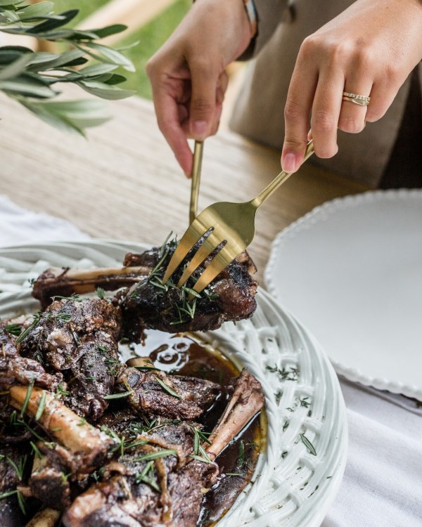 Image of Slow Cooked Lamb Shanks In Red Wine, Native Bush Tomato and Fresh Herbs