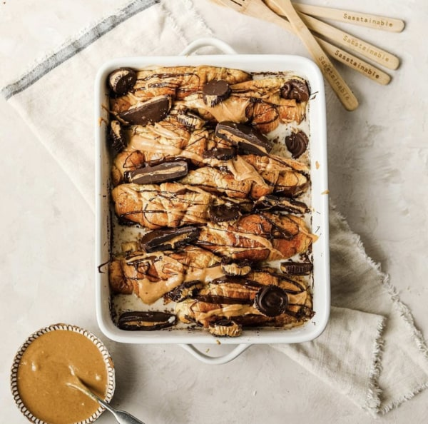Image of Peanut Butter Croissant Bread and Butter Pudding