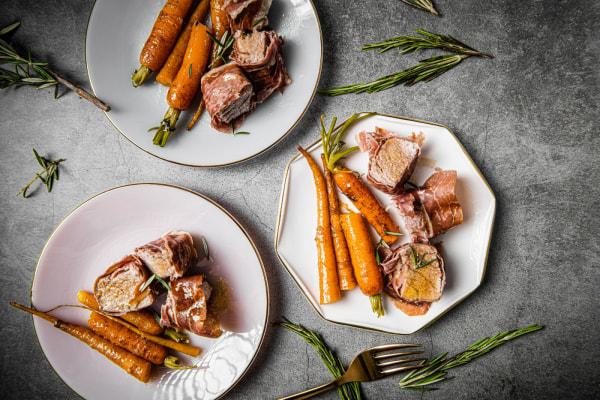 Image of Prosciutto-Wrapped Pork Tenderloin with Honey-Glazed Carrots