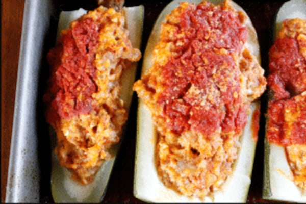 Image of Stuffed Zucchini with Hot & Sweet Sausage