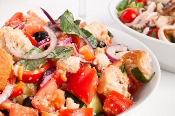Image ofPanzanella Salad with Caramelized Onion Vinaigrette