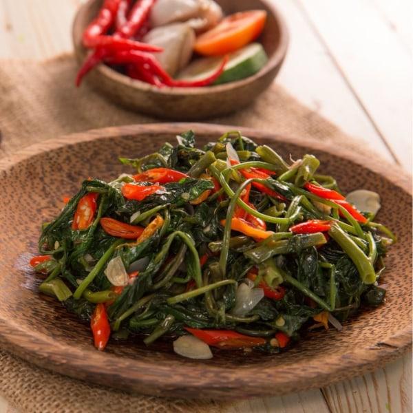 Image of Stir-fried water spinach (Kangkung belacan)