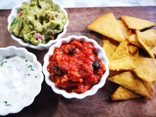 Image of Salsa 4 Ways - Mexican 3 Dips & Tortilla Chips