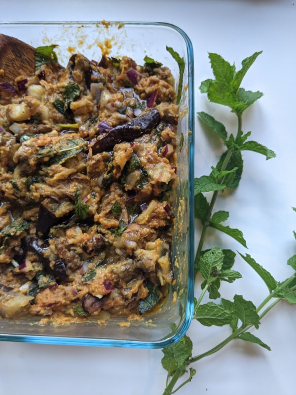 Image ofSummery Eggplant (minty and crunchy)