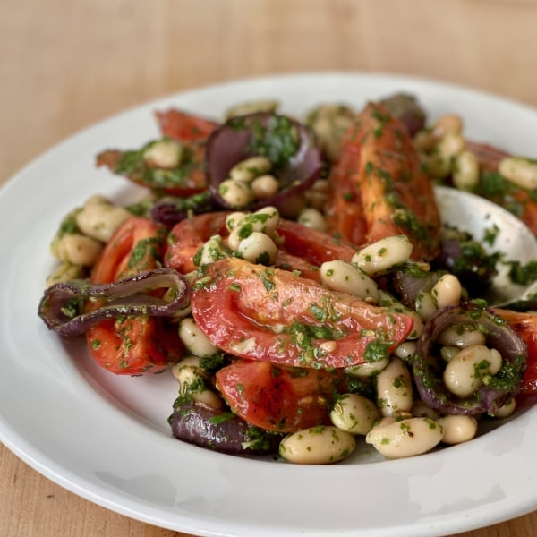 Image of Grilled Tomato with Basil and Lavender Pesto