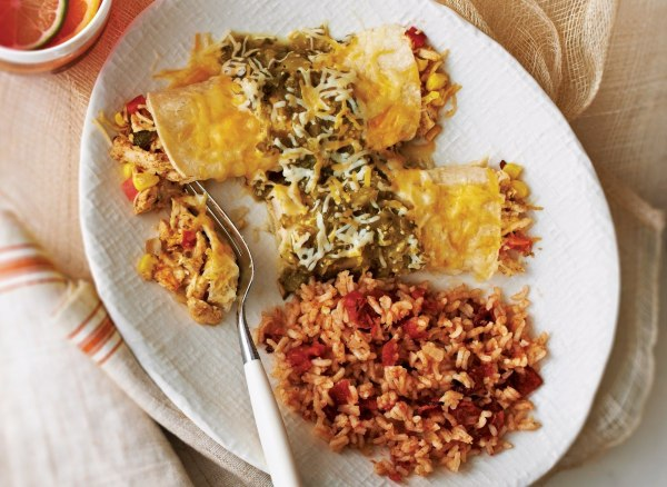 Image of Chicken Enchiladas Verdes With Mexican Rice