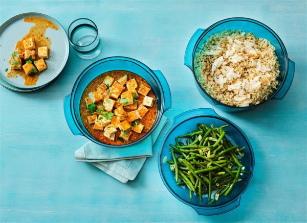 Image of Soy Glazed Green Beans, Tofu Curry and Coconut Rice