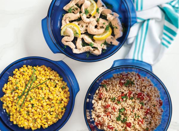 Image of Herbed Corn, Chicken Picatta and Tomato Rice