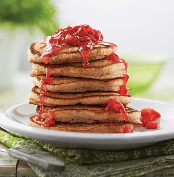 Image of Pancakes With Fresh Strawberry Syrup