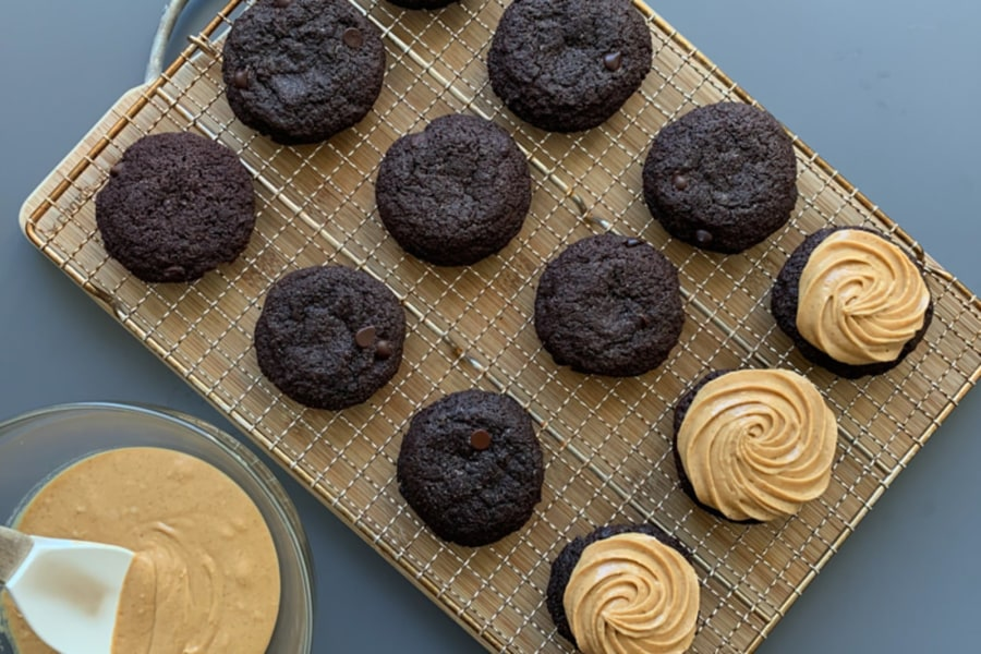 Brownie Cookies with Nut Butter Frosting