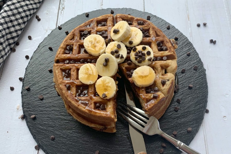 Chocolate Chip Banana Bread Waffles