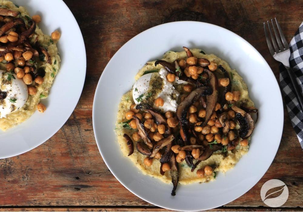 Image of Polenta with Roasted Mushrooms & Chickpeas