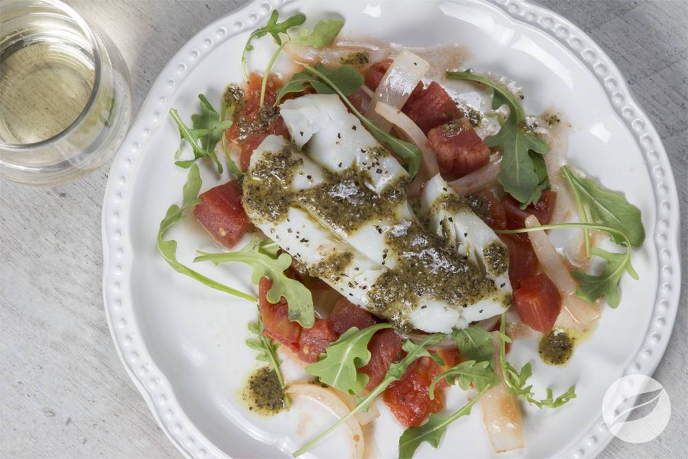 Image of Baked Cod with Tomatoes and Sweet Onions