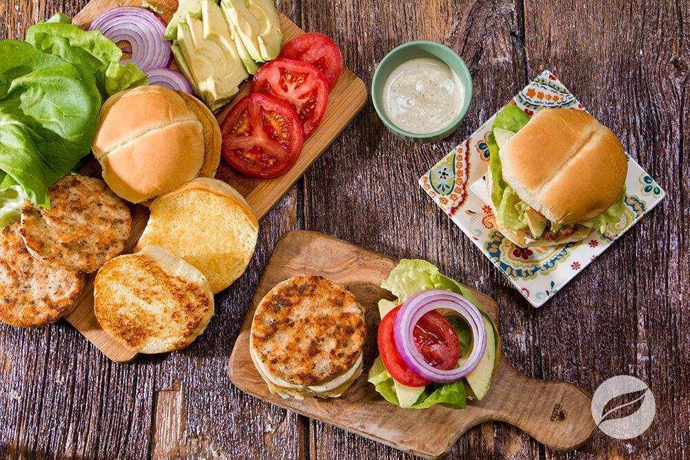 Image of Salmon Burgers with Lemon Dill Sauce