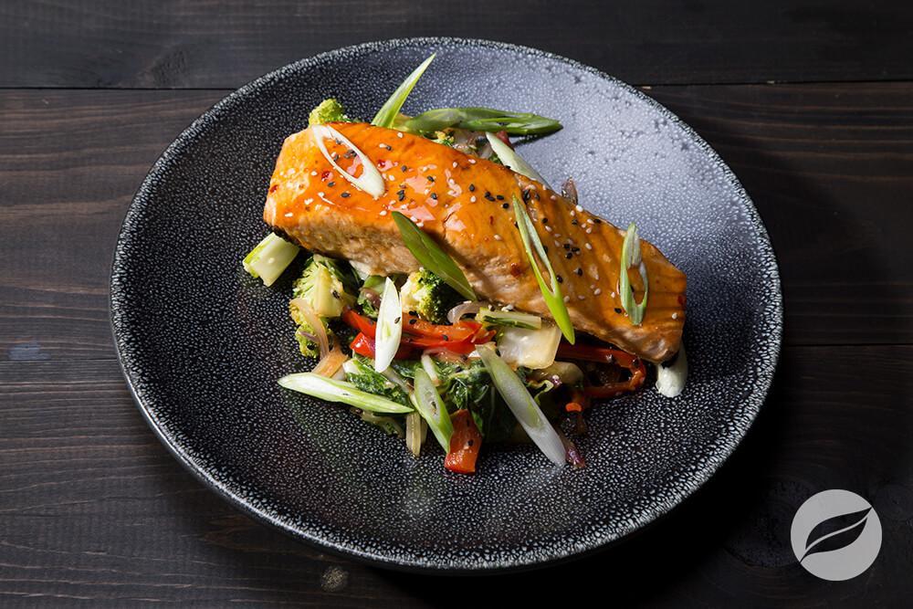 Image of Orange Salmon with Vegetable Stir-fry