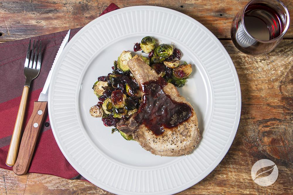 Image of Pork Chops with Balsamic Glazed Brussels Sprouts