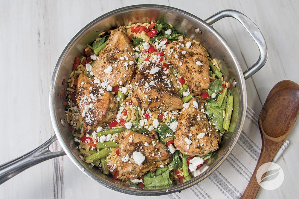 Image of Rosemary Garlic Chicken with Vegetable Orzo