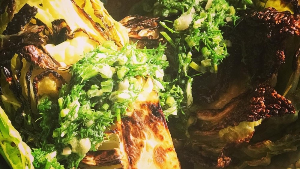 Image of Seared Savoy Cabbage with Easy Dill and Caper Sauce