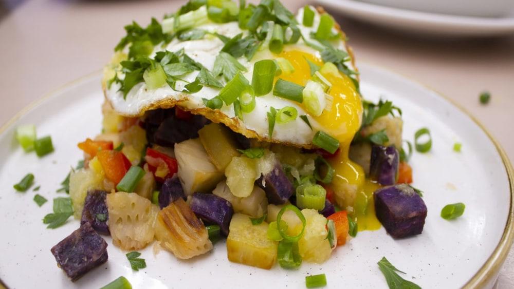 Image of Sweet Potato ʻUlu Hash with Pineapple and Egg