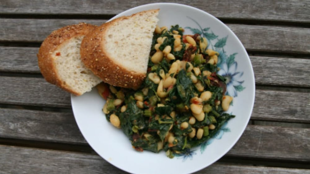 Image of Quick and Yummy: Vegan Kale with White Beans Recipe