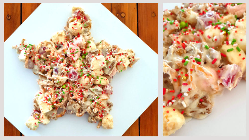 Image of star shaped rocky road dessert perfect for Christmas