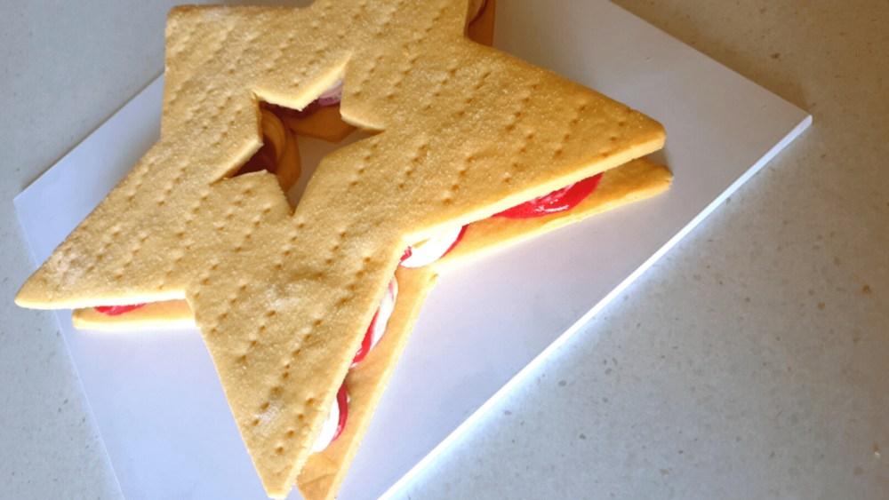 Image of Shortbread With Raspberry Swirl Vanilla Ice Cream Sandwich