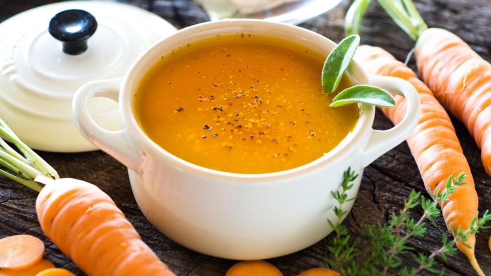 Image of Sopa de zanahoria y leche de coco