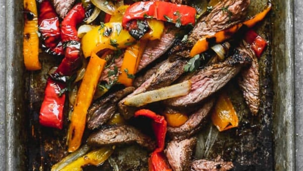Bison fajitas, peppers and onions