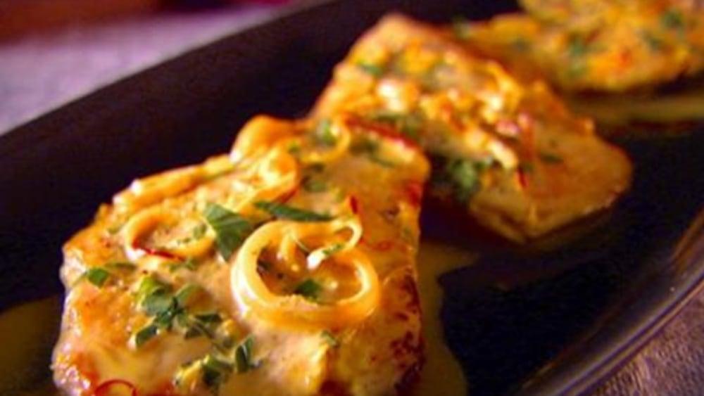 chicken scaloppini with saffron cream sauce recipe dish
