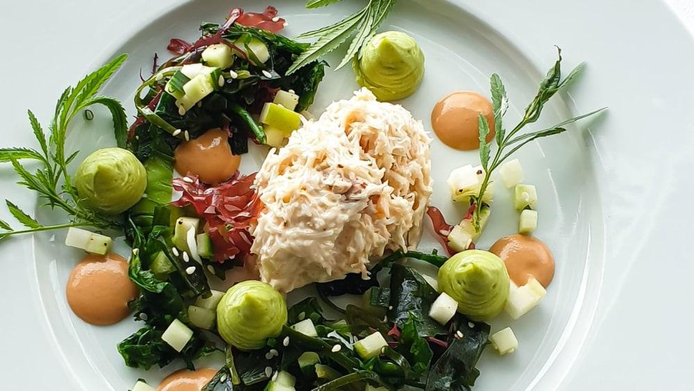Image of Dorset Crab Mayonnaise, Seaweed Salad, Cucumber Apple, Avocado Puree, Crab Ketchup, Marigold Flowers
