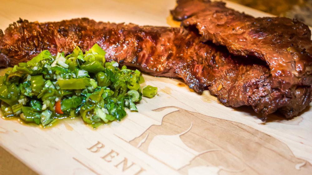 Bison skirt steak and shishito pepper salsa
